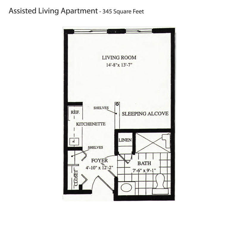Assisted Living Apartment U2013 345 Sq Ft