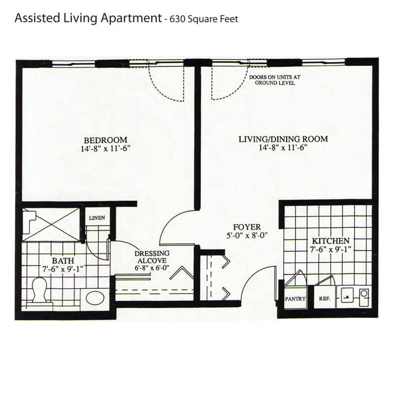 Assisted Living Apartment 630 Sq Ft