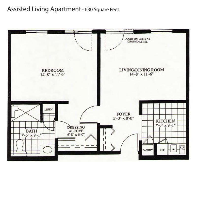 Briarwood retirement senior living communities in for Ada apartment floor plans